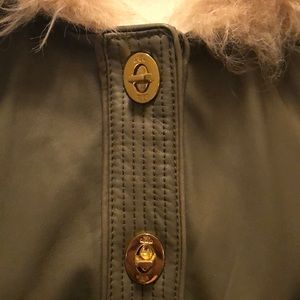 Tory Burch Leather Shearling Hooded Jacket L